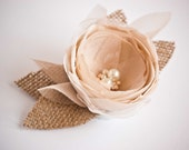 Bridal hair flower - Burlap hairpiece -  Rustic wedding bridal hair accessory with burlap and illusion tulle  leaves