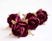 Burgundy  rose flower hair pins - Accessories bridal  bridesmaid flower girl - Claret roses clips set of 4