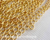 42 inches, 18k Matt Gold Filled Closed Flat Cable Chain Soldered Ends with Additional Ring-