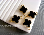 6pcs gold plated Double-sided Metal flower Connector in black color- 15mm