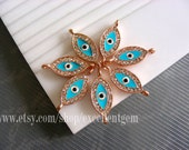 5 Metal connector - Rose gold tone with Crystal Rhinestone Evil eye 2 hold Bacelate Connector in sky blue color