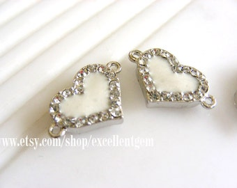 10pcs Silver tone Duble-sided Rhinestone Heart  shape Connector in white color-18mm