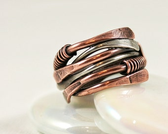 Copper and Silver Stack Ring Organic