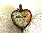 Map Necklace , Map Pendant, Colorado , Colorado Necklace , Boulder Colorado , CU Boulder , Christmas Gift