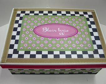 Checks and Dots Personalized Keepsake Box