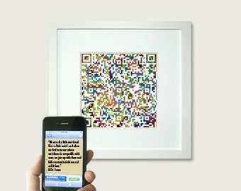 Personalized first paper anniversary gift for husband wife,  Valentines gift for him, Tech QR code, Dr Seuss quote or personalized message