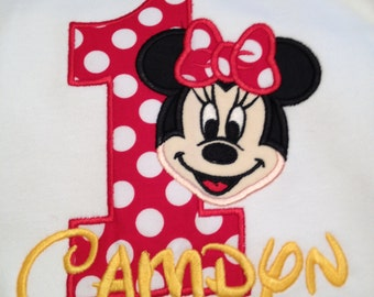 Minnie mouse birthday appliqué shirt red yellow number