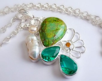 Gemstone Necklace, Mixed Turquoise, Amethyst, Pearl Jewellery, Green & White Pendant, Distinctive Jewellery