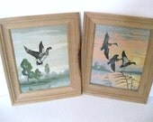 Vintage Paint BY Numbers  Paintings of Geese in Flight  Set of 2-Wooden Frames