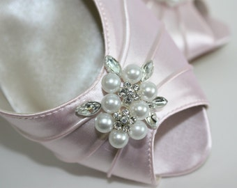 Pink Wedding Shoes - Pearls Crystals Bows - Peep Toe Dyeable Shoes - Pastel Color Wedding - Choose From Over 100 Colors - Short Heel Shoes