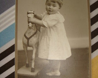 AnTiQuE PhOtO Vintage Awesome CDV Cabinet Card Photo Sweet Baby Boy with Incredible Antique Rocking Horse