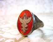 Vintage Sterling Silver Red Enamel SIAM Ring