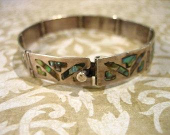 Vintage Sterling Silver and Abalone Shell Link Bracelet