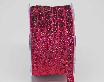 Velvet Metallic Trim -- 3/8 inch -- Fuchsia Sparkle -- Hot Pink Glitter Nylon Ribbon