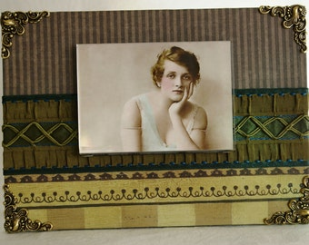 Stella, Decorative Photo Frame, Handmade Frames, Mixed Media Assemblage Picture Frame for your Photo