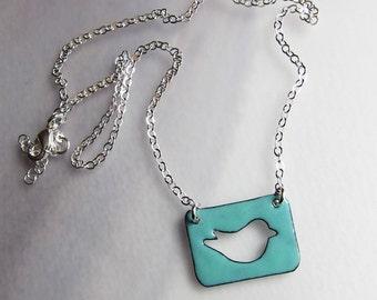 Aqua green enamel bird necklace Baby songbird pendant Nature jewelry Seafoam Gift for bird lover / birdwatcher