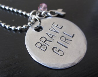 Brave Girl Breast Cancer Awareness Metal Stamped Custom Made Necklace