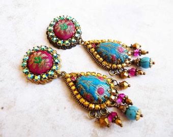 aqua pink sari drop earrings silk brocade rhinestone studs