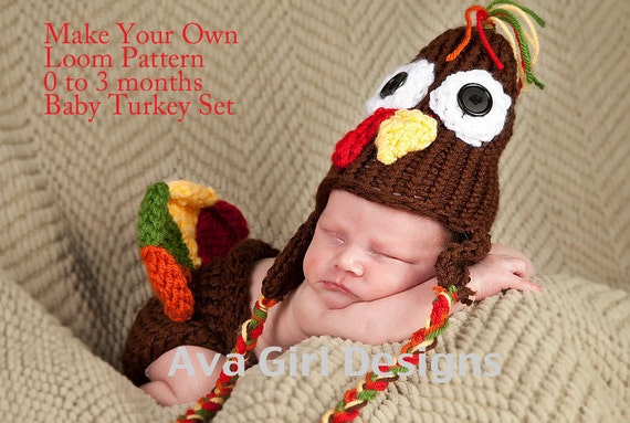 Baby turkey hat diaper cover knifty knitter loom pattern 0 to 3 months