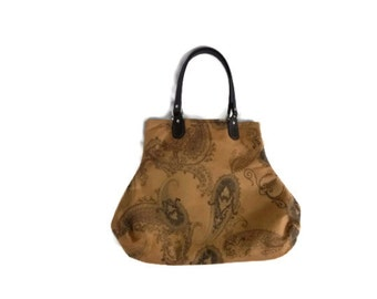 Faux Suede Paisley Handbag Purse Boho Hippie Brown