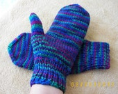 Hand Knit 100% WOOL Mittens in Emerald Blue multi Birds of Paradise