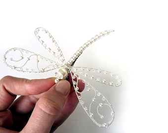 White Wedding Hair Piece - Large Pearl Dragonfly - Clip, Pin, Bouquet decoration, Brooch