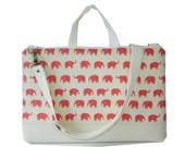 """15"""" Macbook or Laptop bag with handles and detachable shoulder strap- Pink  elephant -Ready to ship"""