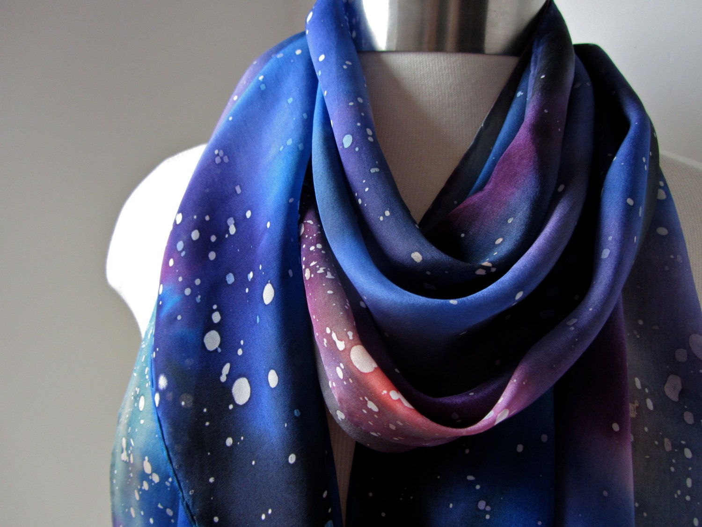 silk scarf painted multicolored galaxy scarf v ii
