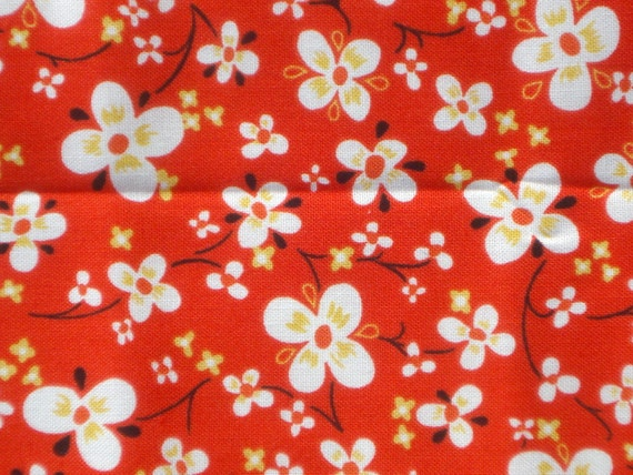 Alexander Henry fabric  'farmdale blossom' tomato red FQ or more