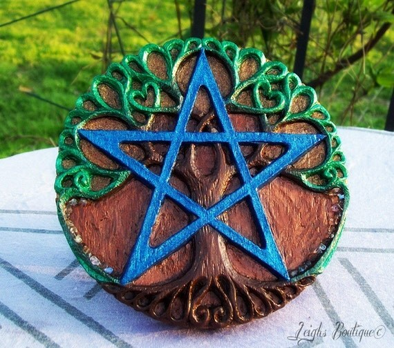 Hand Painted Tree of Life Pentacle Plaque