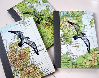 travel diary notebook covered with vintage map and decorated with a Seagull DIN A6 upcycling by renna deluxe