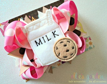 Milk and Cookie Boutique Style Hair Bow Pink Brown M2M Milk and Cookies Birthday
