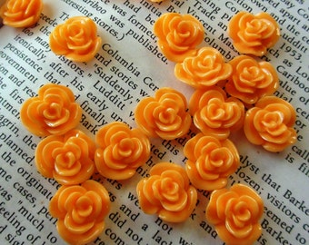 Orange Resin Flower Cabochon 14mm