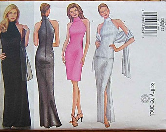 Misses' Kathy Ireland Halter Top, Skirt, Dress, Scarf, Evening Gown Butterick 6871 Sewing Pattern UNCUT, Sizes 18-22