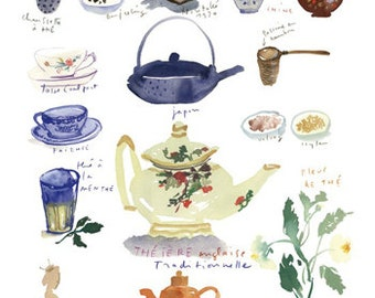 Tea print, Kitchen art, Tea pot print, Tea cup poster, 8X10 print, Blue kitchen decor, Watercolor painting, Blue wall decor, Tea painting
