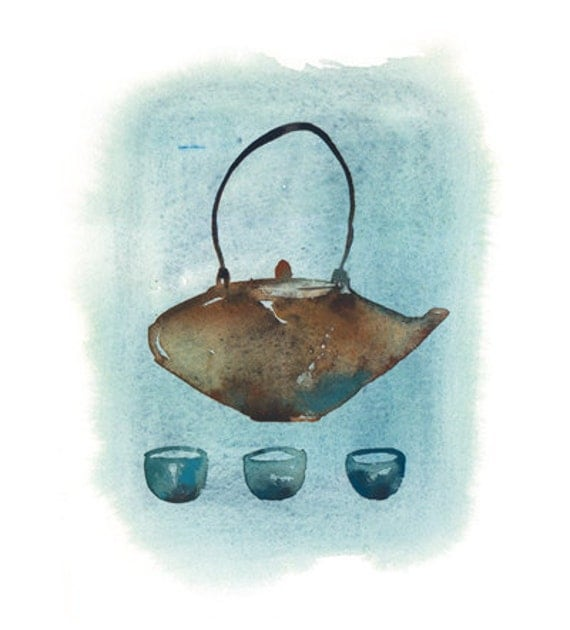 Blue japanese teapot 5X7 art print - Watercolor painting - Tea poster - Home decor