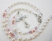 Tiny White and Pink Pearl Personalized Baptism Rosary for a Baby Girl
