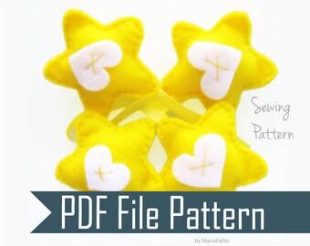 Heart Stars Mini Ornaments  Sewing pattern - PDF ePATTERN Instant Download  A654