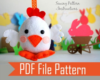 Chicken Sewing pattern, PDF ePATTERN plush Ornament  Instant Download A572