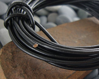 2mm Black Greek Genuine Leather Cord - 10 Feet