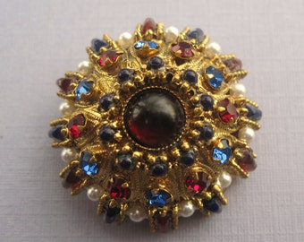 Vintage Faux Pearl And Multicolor Austria  Rhinestone Brooch