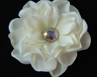 Ivory Bridal Flower with AURORA BOREALIS rhinestone centerpiece / bridal IVORY flower hair clip rhienstone flower clip