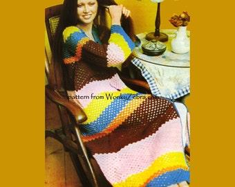 Vintage Crochet Granny Kaftan Pattern PDF 602 from WonkyZebra