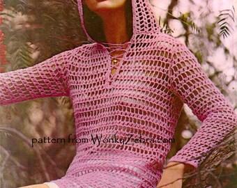 Vintage Hooded Tunic Crochet Pattern PDF 478 from WonkyZebra