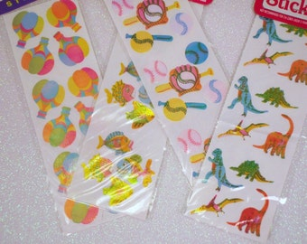 4 Vintage 80s Shiny Shimmering Sticker Sheets Pearlecent Pearly Rainbow Neon Multi Colored
