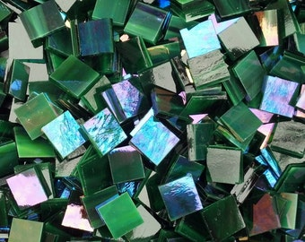 """100 1/2"""" Forest Green Iridescent Stained Glass Mosaic Tiles"""
