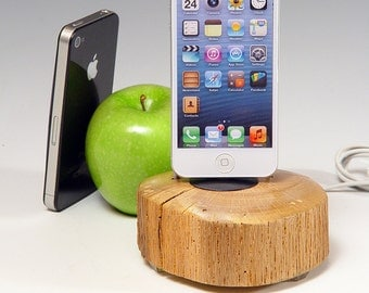 Docking charging station for ANY iPhone including 6 and 6 plus..  Lathe turned. 454. Reclaimed log slice. Live edge. FAST shipping.