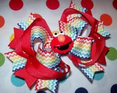 Elmo Hair Bow Chevron Zig Zag Primary Rainbow Perfect for Birthday