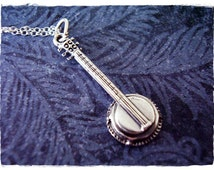 Sterling Silver Banjo Necklace - Sterling Silver Banjo Charm on a Delicate Sterling Silver Cable Chain or Charm Only