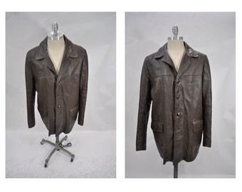 vintage leather jacket vintage leather coat blazer EDDIE BAUER size 44 large